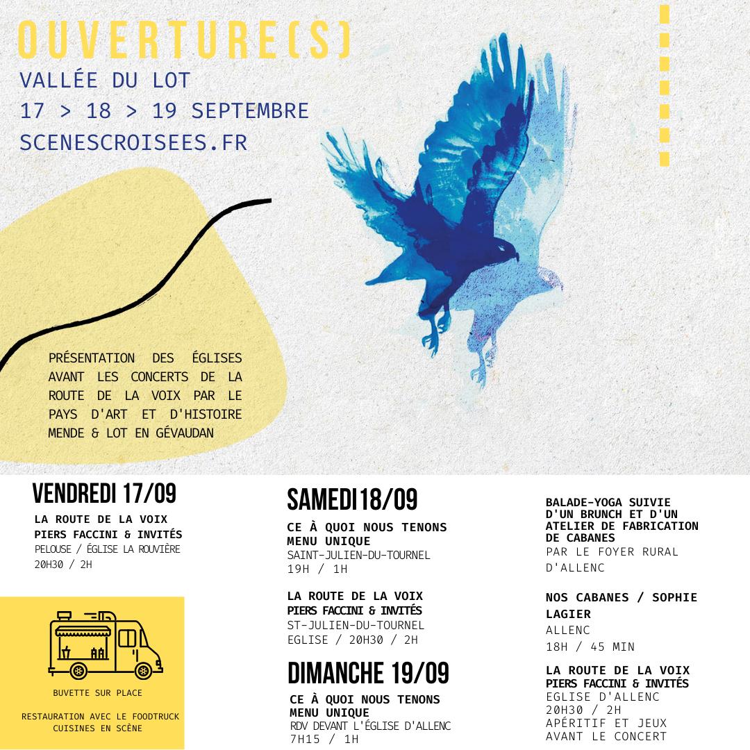 ★ OUVERTURE(S) – 17 > 19 septembre – Vallée du Lot ★